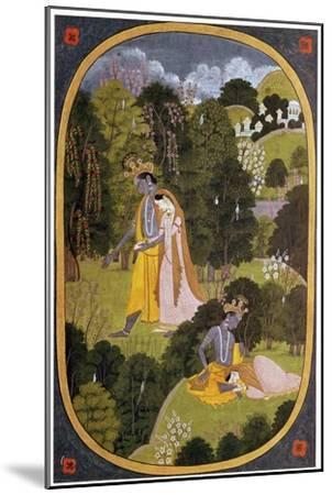 Painting of Radha and Khrishna in a grove. Artist: Unknown-Unknown-Mounted Giclee Print