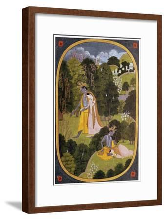 Painting of Radha and Khrishna in a grove. Artist: Unknown-Unknown-Framed Giclee Print