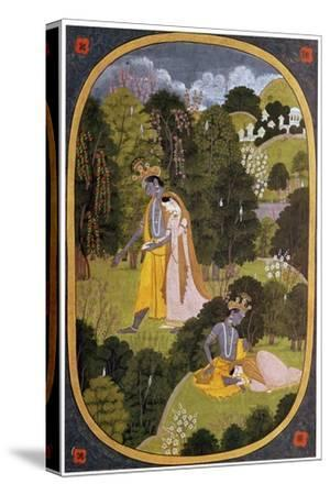 Painting of Radha and Khrishna in a grove. Artist: Unknown-Unknown-Stretched Canvas Print