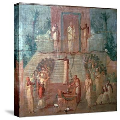 Roman wall-painting of Priests of Isis worshipping, 1st century. Artist: Unknown-Unknown-Stretched Canvas Print