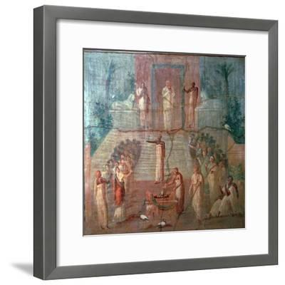 Roman wall-painting of Priests of Isis worshipping, 1st century. Artist: Unknown-Unknown-Framed Giclee Print