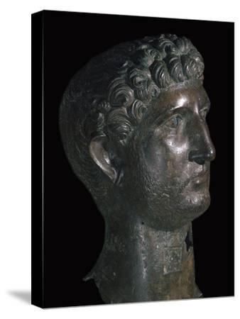 Bronze head of Hadrian, 1st century. Artist: Unknown-Unknown-Stretched Canvas Print