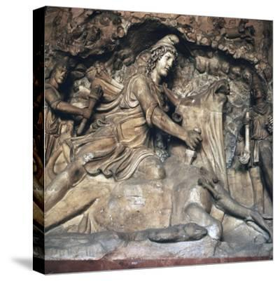 Roman depiction of Mithras killing the bull, 3rd century. Artist: Unknown-Unknown-Stretched Canvas Print