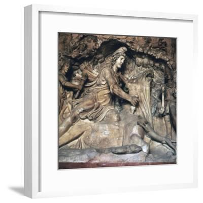 Roman depiction of Mithras killing the bull, 3rd century. Artist: Unknown-Unknown-Framed Giclee Print
