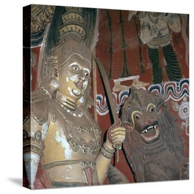 Guardian deities at the doorway of a Buddhist temple, 16th century. Artist: Unknown-Unknown-Stretched Canvas Print