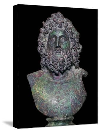 Roman bronze bust of the god Serapis, 4th century Artist: Unknown-Unknown-Stretched Canvas Print