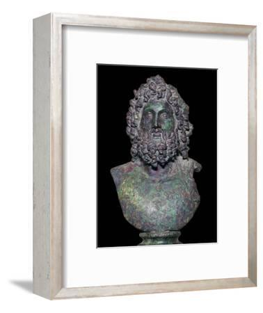 Roman bronze bust of the god Serapis, 4th century Artist: Unknown-Unknown-Framed Giclee Print