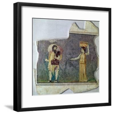 Roman wall-painting showing servants. Artist: Unknown-Unknown-Framed Giclee Print