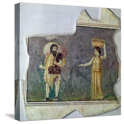 Roman wall-painting showing servants. Artist: Unknown-Unknown-Stretched Canvas Print