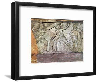 Roman relief of gladiators. Artist: Unknown-Unknown-Framed Giclee Print