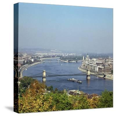 Budapest and the river Danube. Artist: Unknown-Unknown-Stretched Canvas Print