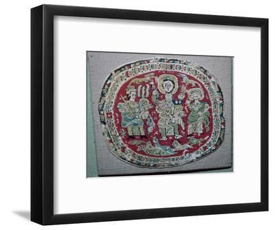 Coptic tapestry of a royal couple with Christ, 10th century. Artist: Unknown-Unknown-Framed Giclee Print