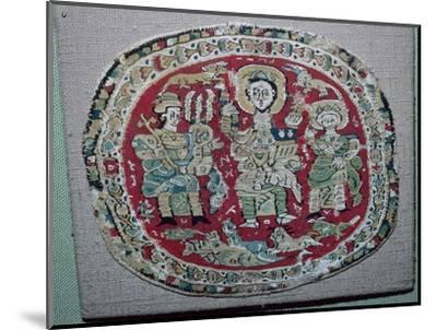 Coptic tapestry of a royal couple with Christ, 10th century. Artist: Unknown-Unknown-Mounted Giclee Print