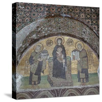 Byzantine mosaic of the Virgin with Justinian and Constantine. Artist: Unknown-Unknown-Stretched Canvas Print