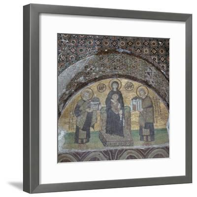 Byzantine mosaic of the Virgin with Justinian and Constantine. Artist: Unknown-Unknown-Framed Giclee Print