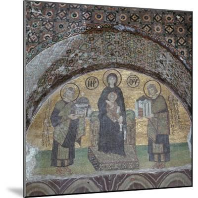 Byzantine mosaic of the Virgin with Justinian and Constantine. Artist: Unknown-Unknown-Mounted Giclee Print