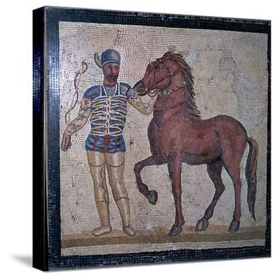 Roman mosaic of a charioteer, 1st century. Artist: Unknown-Unknown-Stretched Canvas Print