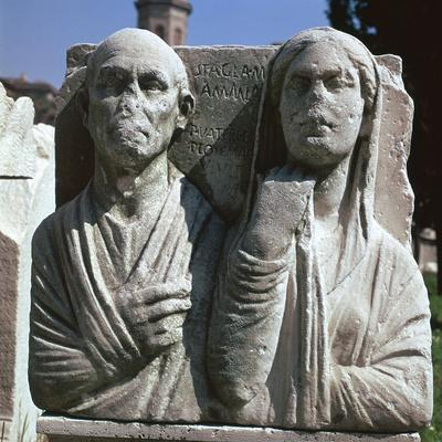 Roman grave-slab with a husband and wife. Artist: Unknown-Unknown-Framed Giclee Print