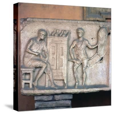 Relief of a Roman shoemaker and ropemaker. Artist: Unknown-Unknown-Stretched Canvas Print