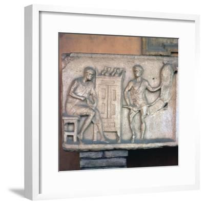 Relief of a Roman shoemaker and ropemaker. Artist: Unknown-Unknown-Framed Giclee Print