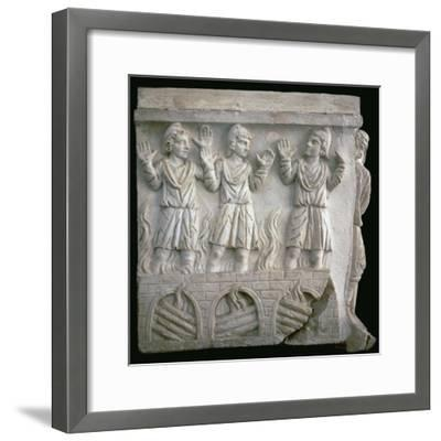 Depiction of Shadrach, Meshach, and Abednego in the fiery furnace. Artist: Unknown-Unknown-Framed Giclee Print