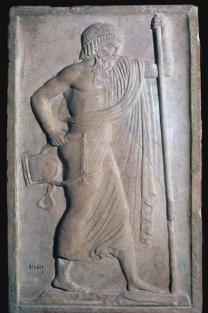 Archaic Roman relief of Apollo. Artist: Unknown-Unknown-Framed Giclee Print