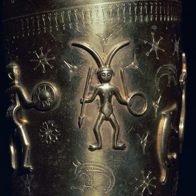 Detail of a copy of a Celtic gold drinking horn, 3rd century. Artist: Unknown-Unknown-Framed Giclee Print