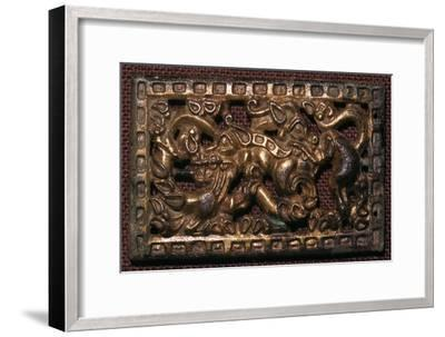 Chinese bronze belt-buckle with animals in combat, 5th century BC. Artist: Unknown-Unknown-Framed Giclee Print