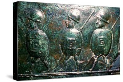 Detail of a bronze situala with Etruscan soldiers, 5th century BC. Artist: Unknown-Unknown-Stretched Canvas Print
