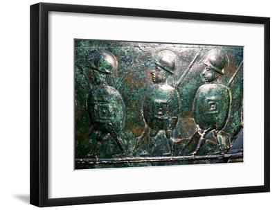 Detail of a bronze situala with Etruscan soldiers, 5th century BC. Artist: Unknown-Unknown-Framed Giclee Print