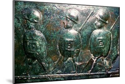 Detail of a bronze situala with Etruscan soldiers, 5th century BC. Artist: Unknown-Unknown-Mounted Giclee Print