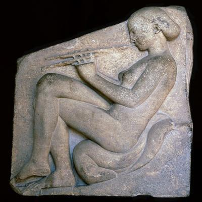 Greek sculpture of a girl playing a flute, 5th century BC. Artist: Unknown-Unknown-Framed Giclee Print