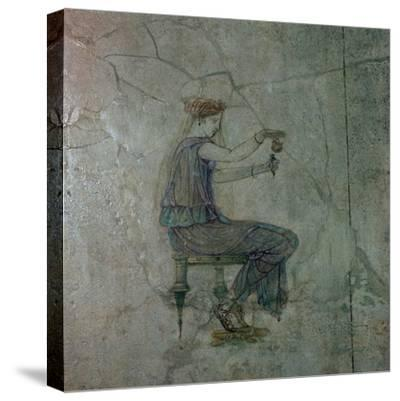 Roman wall-painting of a girl pouring perfume into a small vase, 1st century. Artist: Unknown-Unknown-Stretched Canvas Print