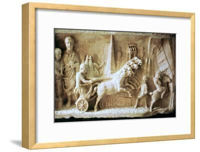 Roman relief of a chariot race. Artist: Unknown-Unknown-Framed Giclee Print