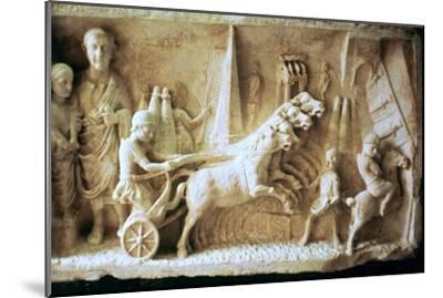 Roman relief of a chariot race. Artist: Unknown-Unknown-Mounted Giclee Print