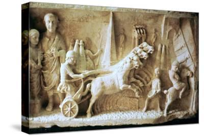 Roman relief of a chariot race. Artist: Unknown-Unknown-Stretched Canvas Print