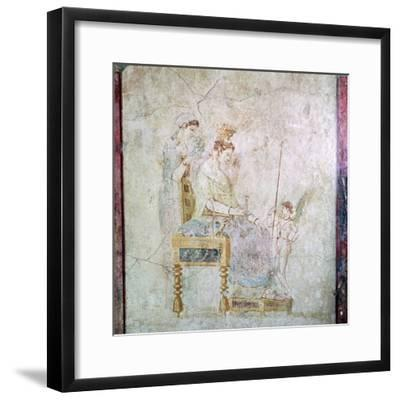 Roman wall-painting of Aphrodite, Eros, and one of the Graces, 1st century. Artist: Unknown-Unknown-Framed Giclee Print