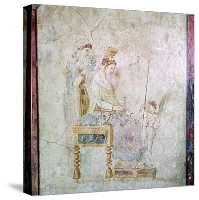 Roman wall-painting of Aphrodite, Eros, and one of the Graces, 1st century. Artist: Unknown-Unknown-Stretched Canvas Print
