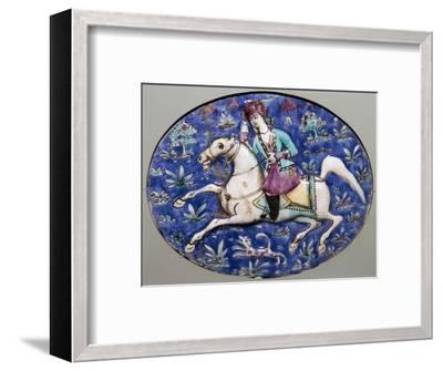 Persian tile depicting a horseman, 19th century. Artist: Unknown-Unknown-Framed Giclee Print