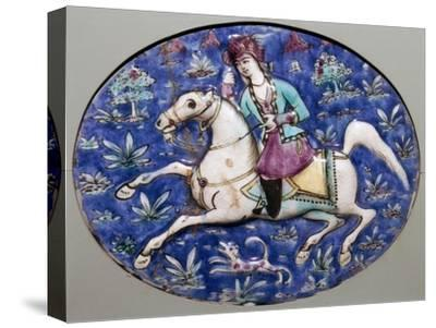 Persian tile depicting a horseman, 19th century. Artist: Unknown-Unknown-Stretched Canvas Print