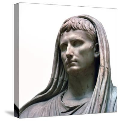 Sculpture of the Emperor Augustus as the Pontifex Maximus, 1st century BC. Artist: Unknown-Unknown-Stretched Canvas Print