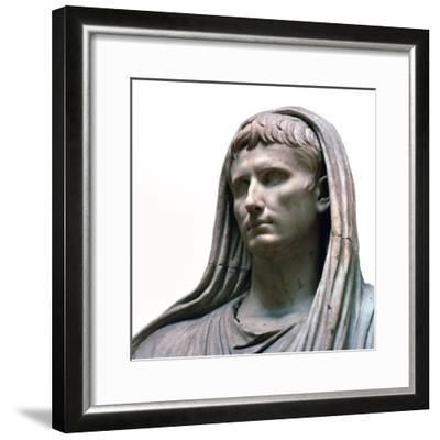 Sculpture of the Emperor Augustus as the Pontifex Maximus, 1st century BC. Artist: Unknown-Unknown-Framed Giclee Print