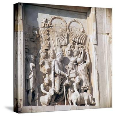Detail from the arch of Constantine, 3rd century. Artist: Unknown-Unknown-Stretched Canvas Print