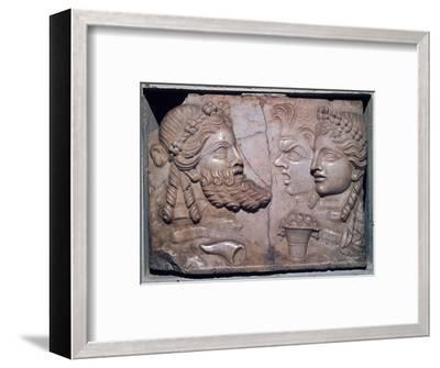 Roman marble relief of dramatic masks. Artist: Unknown-Unknown-Framed Giclee Print