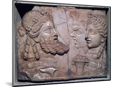 Roman marble relief of dramatic masks. Artist: Unknown-Unknown-Mounted Giclee Print