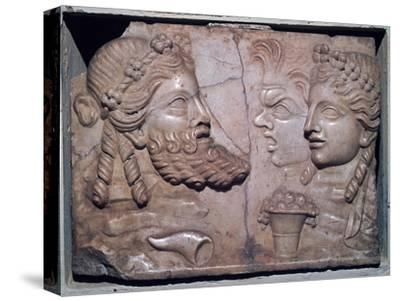 Roman marble relief of dramatic masks. Artist: Unknown-Unknown-Stretched Canvas Print