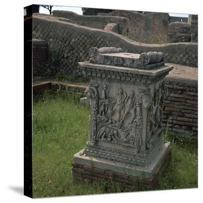 Roman altar showing Romulus and Remus, 3rd century. Artist: Unknown-Unknown-Stretched Canvas Print