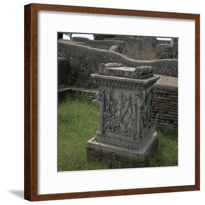 Roman altar showing Romulus and Remus, 3rd century. Artist: Unknown-Unknown-Framed Giclee Print