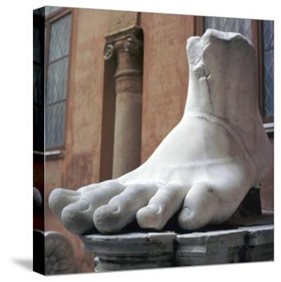 Foot from a colossal Roman statue, 3rd century BC. Artist: Unknown-Unknown-Stretched Canvas Print