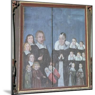 Norwegian painting showing a family with fourteen children, 17th century. Artist: Unknown-Unknown-Mounted Giclee Print